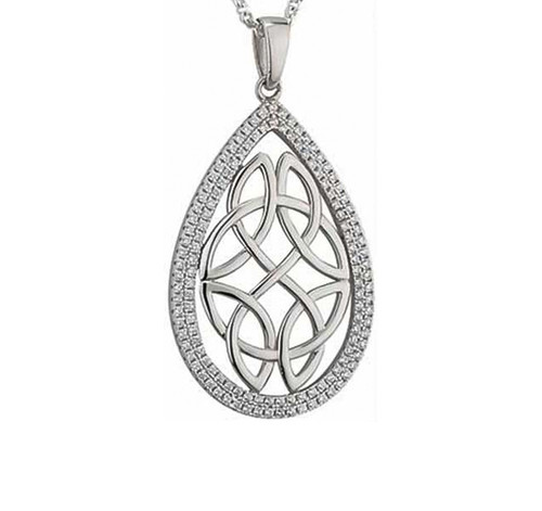 Sterling Silver Large Oval Celtic Pendant with Cubic Zirconia S46035 Irish Made by Solvar Dublin