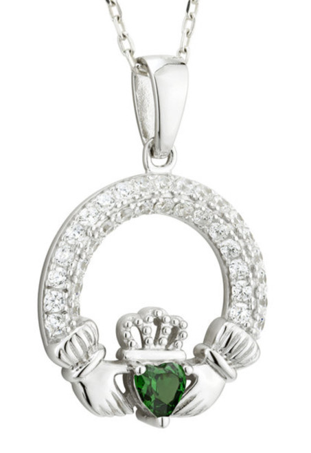 Sterling Silver Claddagh Birthstone Pendant MAY with Cubic Zirconia S46117 Irish Made by Solvar Dublin