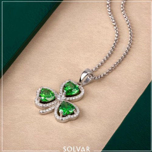 Sterling Silver Shamrock Pendant with Green Stones & Cubic Zirconia S46187 Irish Made by Solvar Dublin