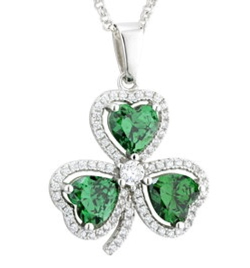 Sterling Silver Shamrock Pendant with Green Stones & Cubic Zirconia S46187