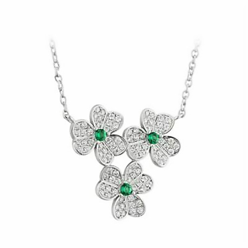 Sterling Silver Shamrock Cluster Pendant with Green Stone and Cubic Zirconia S46198