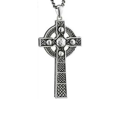Large Rhodium Celtic Cross with Antiquing S46233 Irish Made by Solvar Dublin