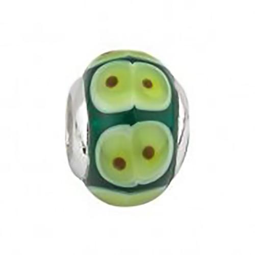 Sterling Silver Green Glass Bead S80201 Irish Made by Solvar Dublin