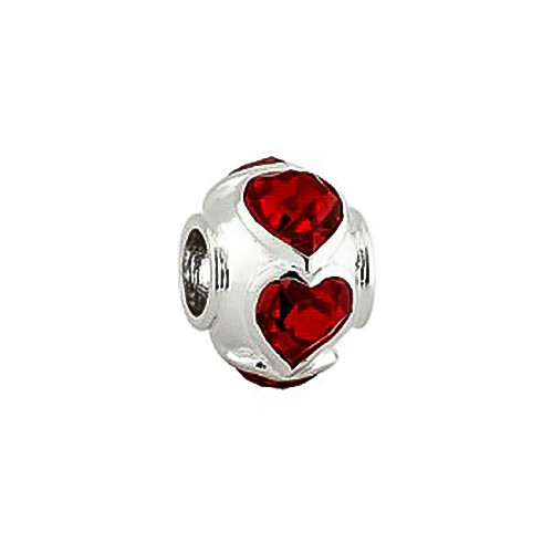 Sterling Sterling Crystal Hearts Bead S80255 Irish Made by Solvar Dublin