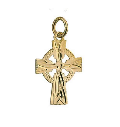 10k Gold Celtic Cross Engraved 15mm Charm S8458 Irish Made by Solvar Dublin