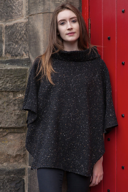 Argyll Shawl with 1/2 Sleeves Made by Bill Baber Knitwear in the Color CHARCOAL Hand Made in Merino Wool