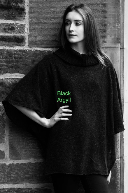 Argyll Pullover Shawl with 1/2 Sleeves Made by Bill Baber Knitwear in the Color FLECKY BLACK Hand Made in Merino Wool