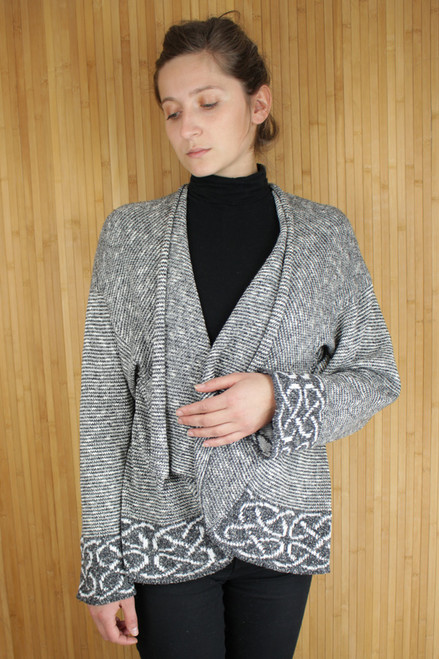 Celtic Brora Jacket Made by Bill Baber Knitwear in the Color SILVER Hand Made in Irish Linen & Silk