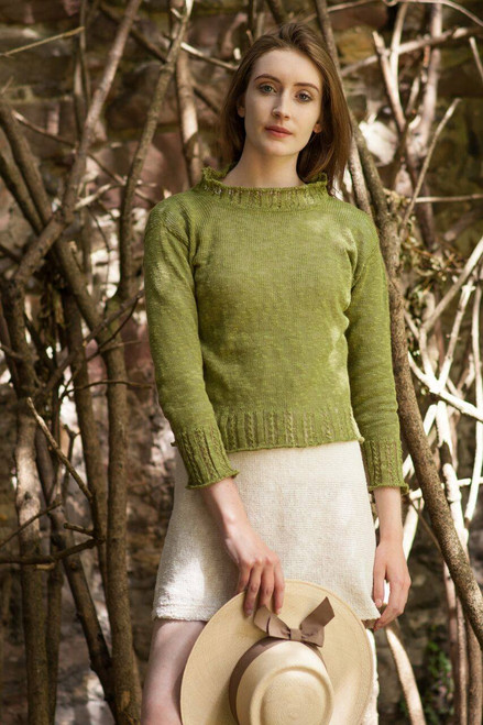 Braidy Top Made by Bill Baber Knitwear in the Color ECRU Hand Made in Linen