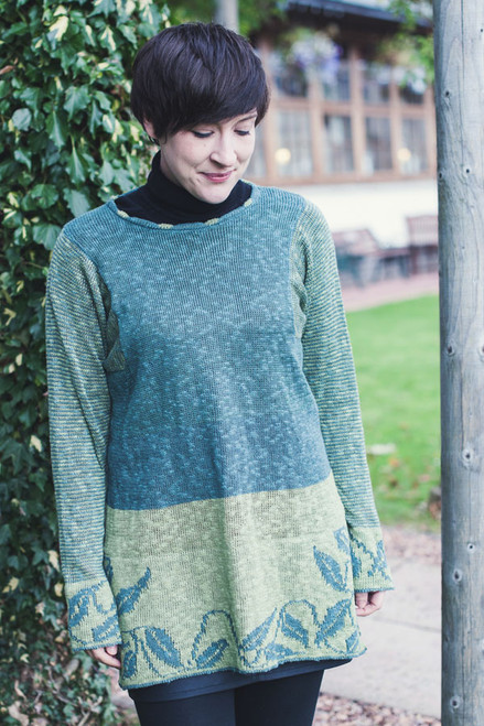 Celtic Long Ivy Tunic Made by Bill Baber Knitwear in the Color SHAMROCK Hand Made in Linen & Cotton