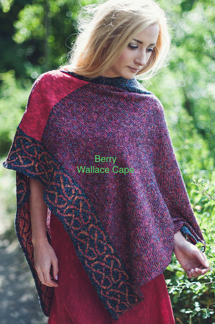 Celtic Wallace Cape Made by Bill Baber Knitwear in the Color BERRY Hand Made in Cashmere & Wool