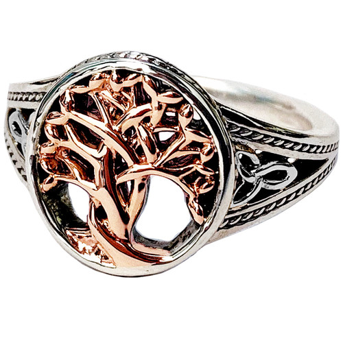 S/sil + Rose Gold TREE OF LIFE Ring By KEITH JACK PRX1284-3