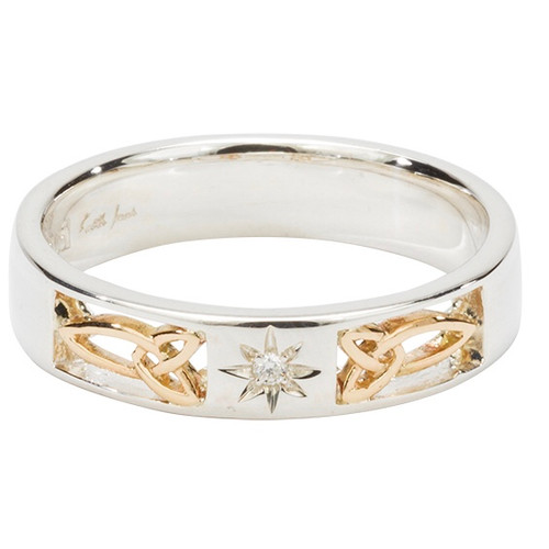 """Sterling Silver and 10k Trinity Inserts Narrow and (1.5mm) Diamond """"LUSSA"""" Celtic Ring   Sizes 5-11 by KEITH JACK PRX3371"""