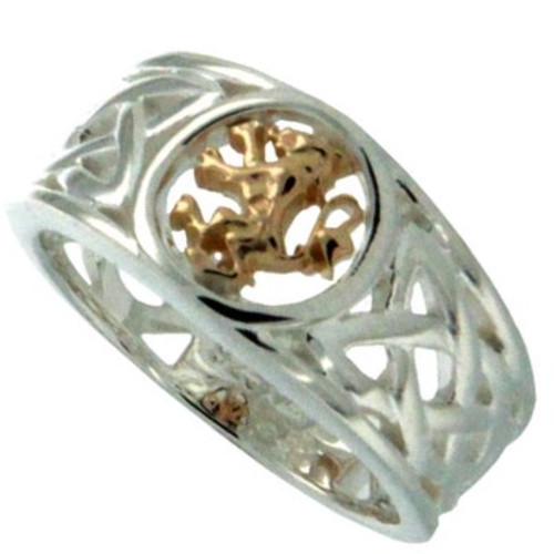 S/sil + 10k Lion Rampant Ring (Tapered)   Sizes 5-13 By Keith Jack