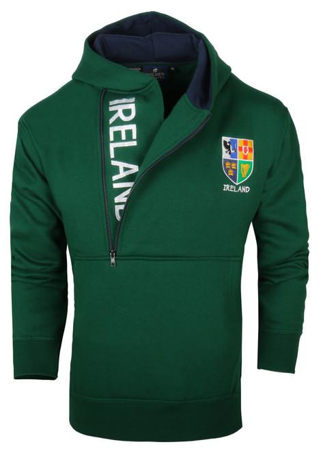 Half-Zip Ireland Hooded Sweatshirt in Bottle Green HIHZ-BOTTLE