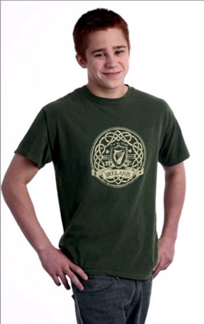 Distressed Harp Tee Shirt in Olive Green