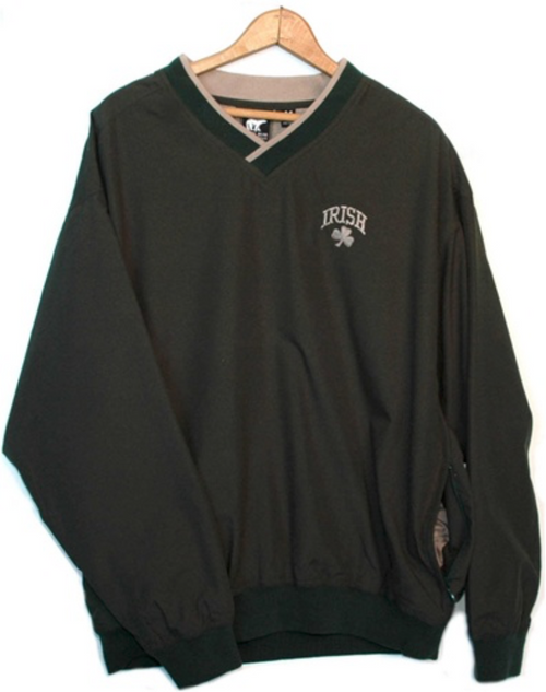 Two-Tone Irish Shamrock Windshirt in Forest & Natural