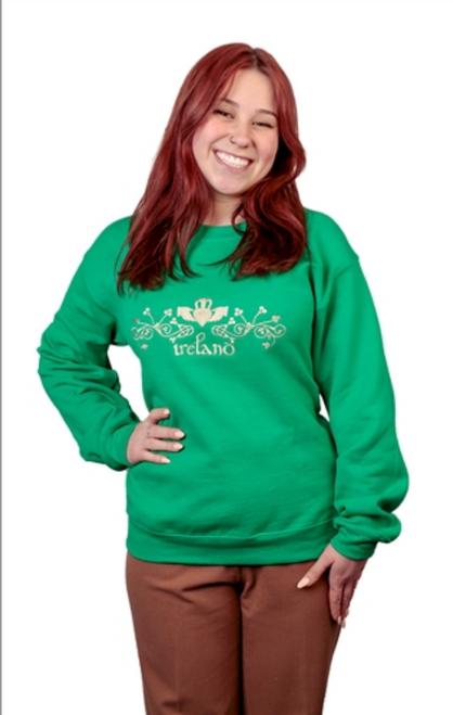 Ladies Claddagh Crew Sweatshirt in Kelly Green