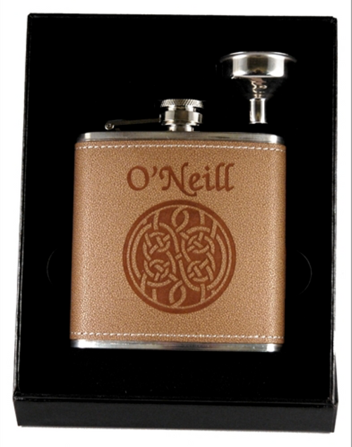 Two-Piece Celtic Knot & Funnel Flask Set Personalized