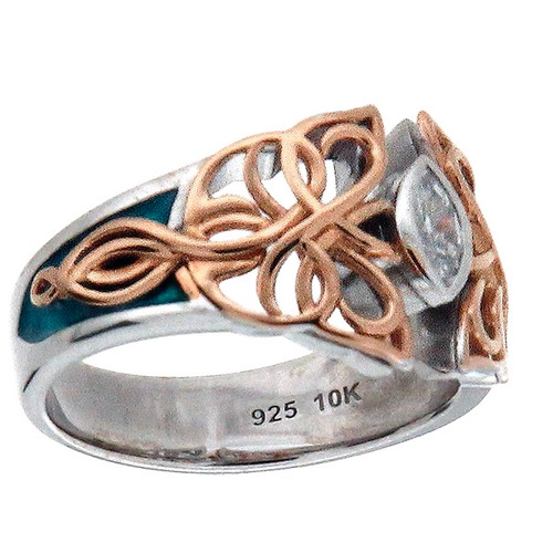 Butterfly Ring made of Sterling Silver with 10k Rose Gold with Sky Blue Enamel and White Cubic Zirconia