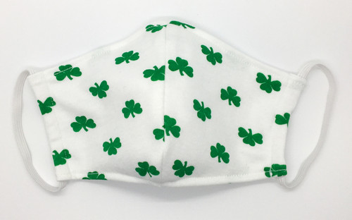 Irish Green Shamrocks On White Face Mask HAND MADE