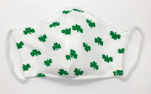 Irish Green Shamrocks On White Face Mask HAND MADE