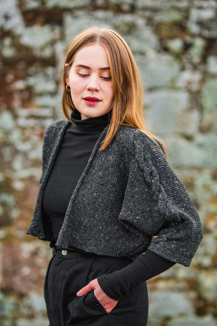 Islay Jacket Made by Bill Baber Knitwear in the Color Charcoal Hand Made in Merino Wool