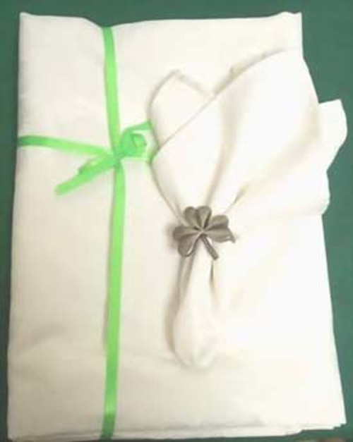 """White Shamrock Tablecloth 60"""" by 102"""""""