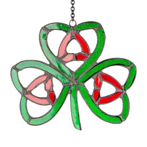 Large Nollaig Shona Shamrock Stained Glass Ornament