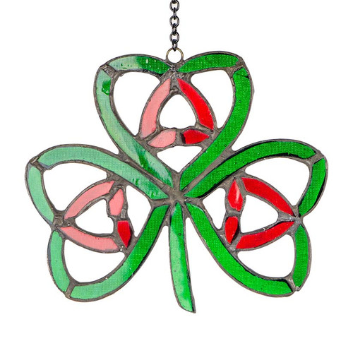 Small Nollaig Shona Shamrock Stained Glass Ornament