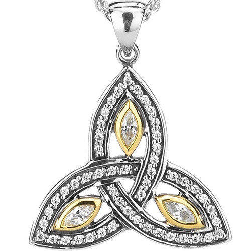 TRINITY PENDANT SMALL  in Sterling Silver and 10k Yellow Gold and White Cubic Zirconia By Keith Jack PPX6620-S