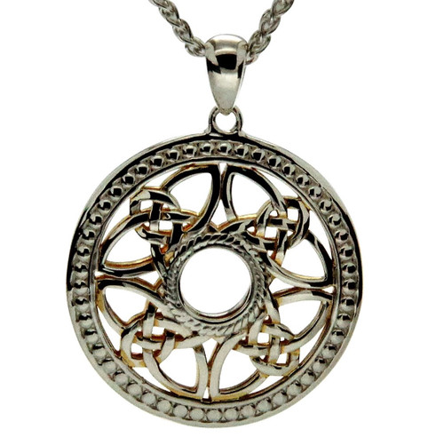 S/sil + 22k Gilded Beaded Window to the Soul Round Pendant By Keith Jack