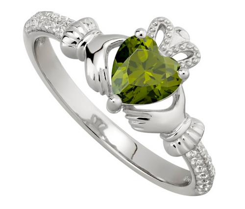 August Birthstone Peridot Claddagh Ring