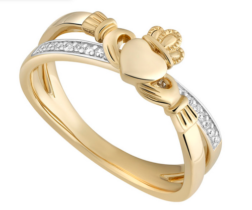 14k Gold Diamond Irish Celtic Claddagh Crossover Ring