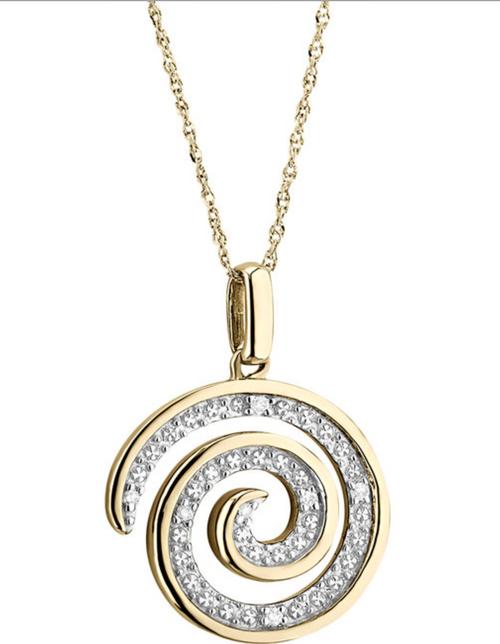 14k Gold Diamond Celtic Swirl Pendant