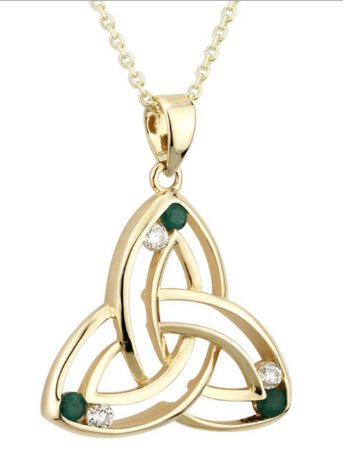 14k Gold Diamond & Emerald Trinity Knot Pendant