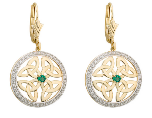 14k Gold Emerald Four Trinity Knot Round Earrings