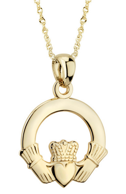 14k Gold Claddagh Pendant