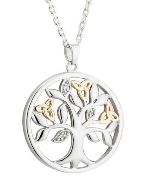 Silver & 10k Gold Diamond Tree O'Life Pendant