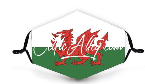 ReUsable Enviro Face Mask In Welsh Dragon Wales Flag
