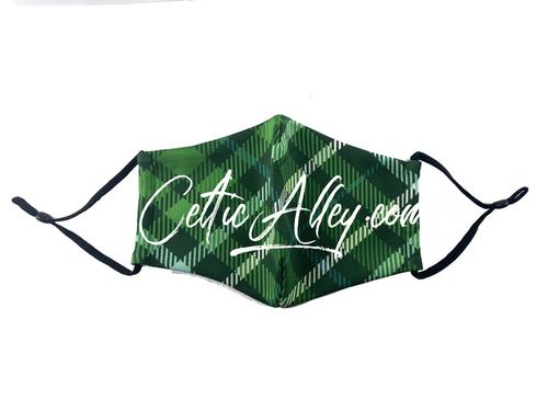 ReUsable Enviro Face Mask In Green Tartan Plaid
