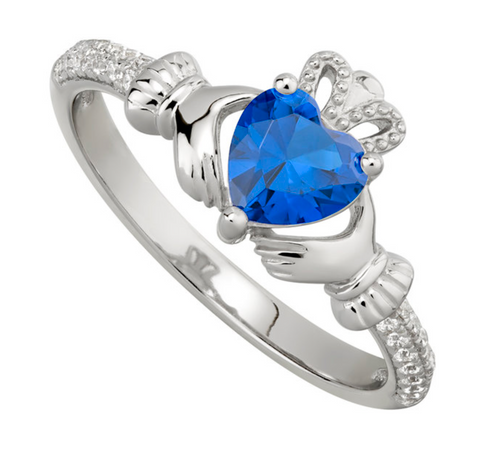 Sterling Silver & Cubic Zirconia Claddagh September Birthstone Ring S2106209
