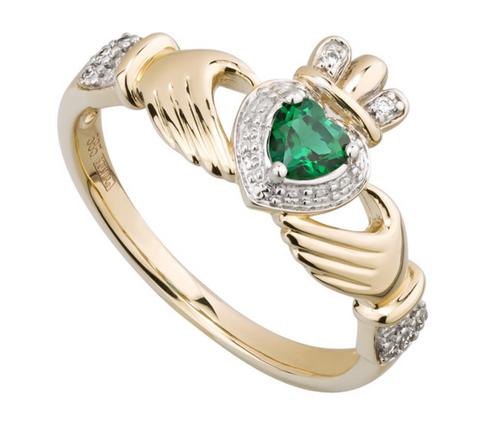 14k Gold Diamond & Created Emerald Claddagh Ring
