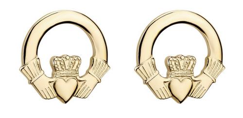 14k Gold Claddagh Stud Earrings