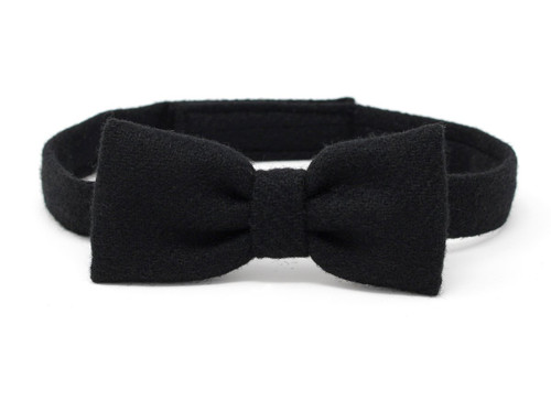 Hanna Hats of Donegal Tweed Bow Tie Hand Made in Solid Black