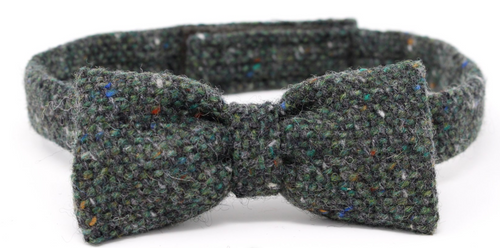 Hanna  Hats of Donegal Tweed Bow Tie Hand Made in Dark Green Fleck Salt & Pepper