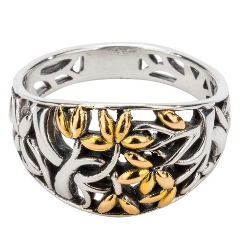 S/sil + 18k TREE OF LIFE Ring (Tapered)   Sizes 5-13 By KEITH JACK PRX9003