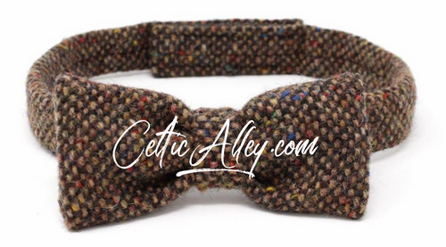 Hanna Hats of  Donegal Tweed Bow Tie Hand Made in Brown  Fleck Salt & Pepper