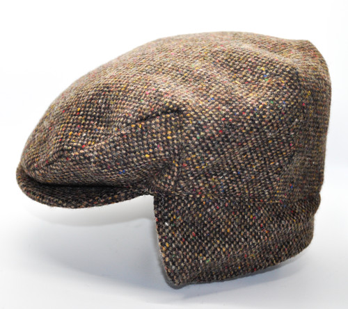 Hanna Hats of Donegal IRISH Tweed Ear Flap Cap in Brown HandMade in Ireland