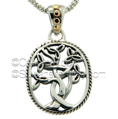S/S and 18k Gold Tree O'Life Pendant Sm PPX9010 KEITH JACK (PPX9010)